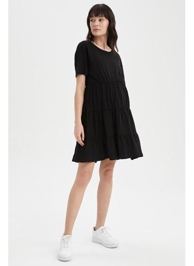 DeFacto Volan Detaylı Kısa Kollu Hamile Elbisesi Siyah